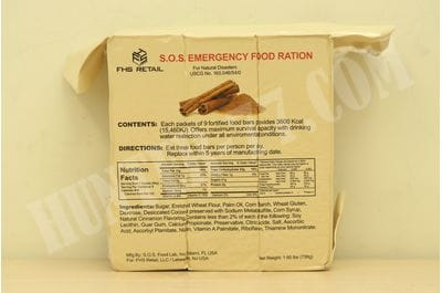 S.O.S. Rations Emergency 3600 Calorie Food Bar Cinnamon