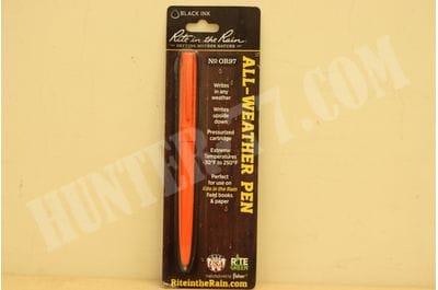 Rite In The Rain Weatherproof Orange Metal Retractable Ballpoint Pen Black Ink No. OR97
