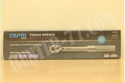 "Capri Tools 31200 20-150 Inch Pound Industrial Torque Wrench, 1/4"" Drive, Matte Chrome"