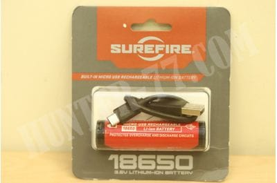 SureFire 18650 Li-Ion Rechargeable Battery with Charging Port (3.6V, 3500 mAh)