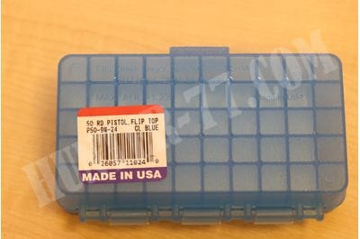Коробка МТМ на 50 патронов 9 мм прозрачная голубая