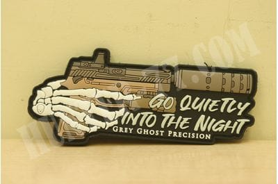 """Shot Show 2020 Grey Ghost Precision Morale Patch PVC """"Go Quietly Into The Night"""""""