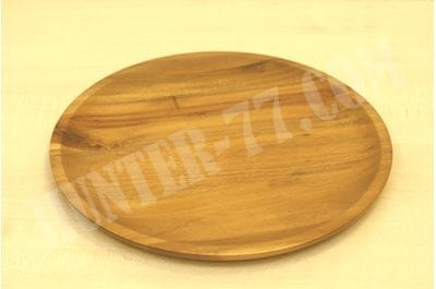Acacia Wood Dinner Plates, AIDEA 11Inch Round Wood Plates Set of 4