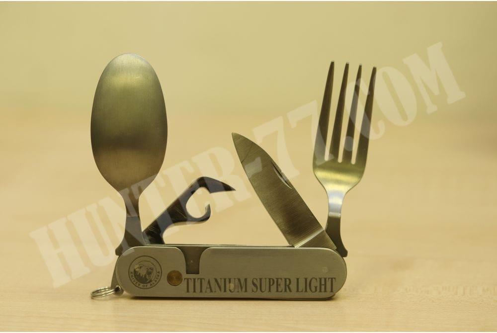 Титановый походный набор нож/ложка/вилка/открывалка