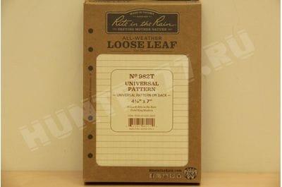"Rite in the Rain Weatherproof Loose Leaf Paper, 4 5/8"" x 7"", 32# Tan, Universal Pattern, 100 Sheet Pack (No. 982T)"