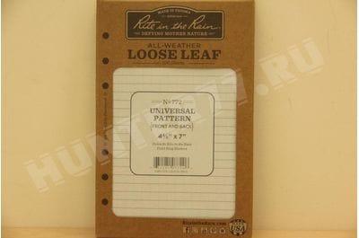"Rite in the Rain Weatherproof Loose Leaf Paper, 4 5/8"" x 7"", 32# Gray, Universal Pattern, 100 Sheet Pack (No. 772)"