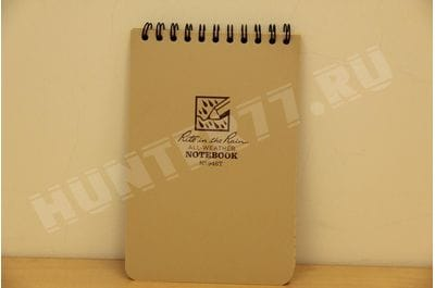"""Rite in the Rain Weatherproof Top-Spiral Notebook, 4"""" x 6"""", Tan Cover, Universal Pattern (No. 946T)"""