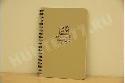 """Rite in the Rain Weatherproof Side Spiral Notebook, 4.625"""" x 7"""", Tan Cover, Universal Pattern (No. 973T)"""