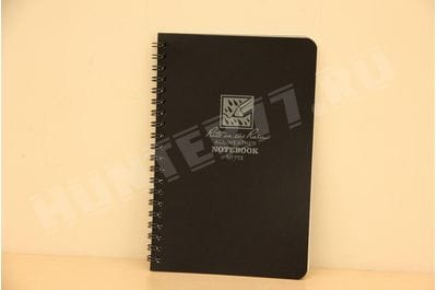"""Rite in the Rain All-Weather Side-Spiral Notebook, 4 5/8"""" x 7"""", Black Cover, Universal Pattern (No. 773)"""
