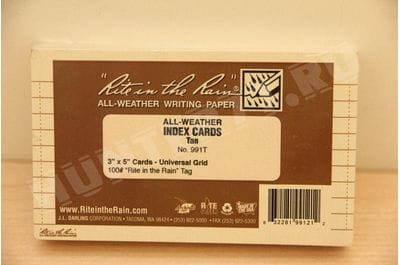 """Rite in the Rain All Weather Index Cards, 3"""" x 5"""", Universal Pattern, Tan (No. 991T)"""