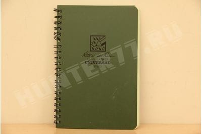 """Rite in the Rain All-Weather Side-Spiral Notebook, 4 5/8"""" x 7"""", Green Cover, Universal Pattern (No. 973)"""