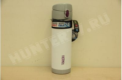 Термос-кружка Thermos Vacuum Insulated Stainless Steel Commuter Bottle, 16-ounce, 470 ml , White w/ Purple Accent  Белый