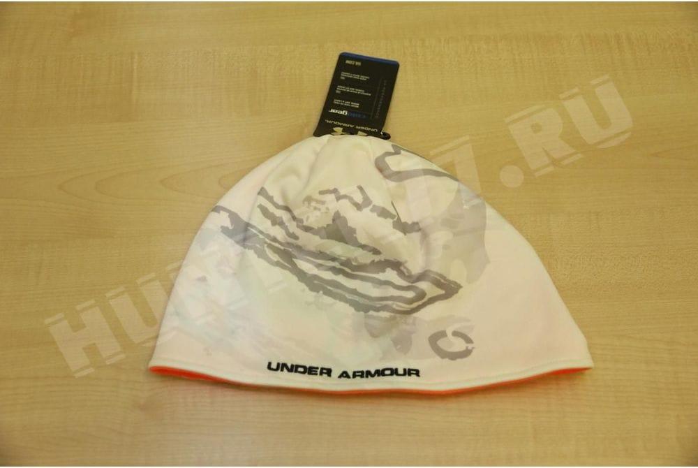 Флисовая шапка 100 белая/оранжевая  Under Armour