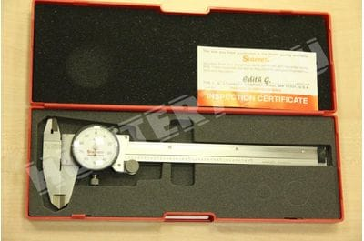 "Starrett 120A-6 Dial Caliper, Stainless Steel, White Face, 0-6"" Range, +/-0.001"" Accuracy, 0.001"" Resolution"
