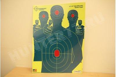 Target 18x24 green three pistols Splatterburst Targets